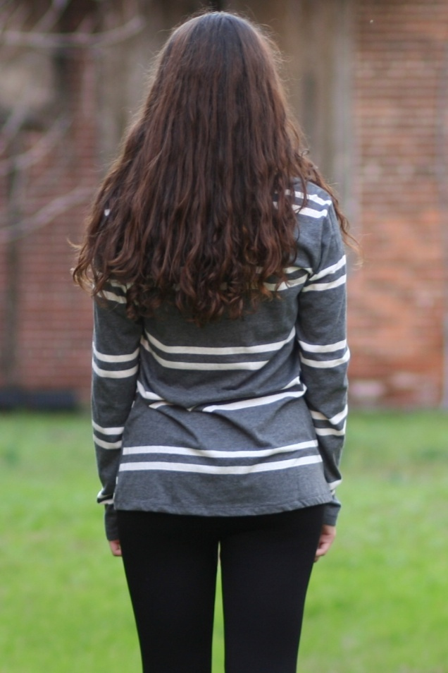 Grey White Striped V-neck Tee - Wild Souls - shopwildsouls.com