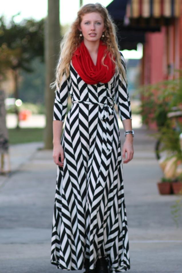 Herringbone Print Maxi Dress - Wild Souls - shopwildsouls.com