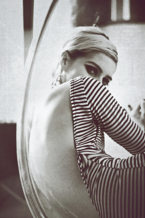 Edie Sedgwick in Striped Low-back Dress