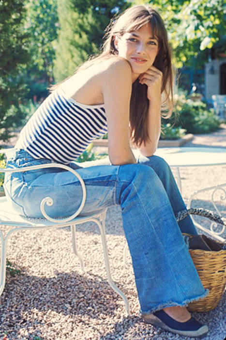 Jane Birkin in Striped Tank & Jeans