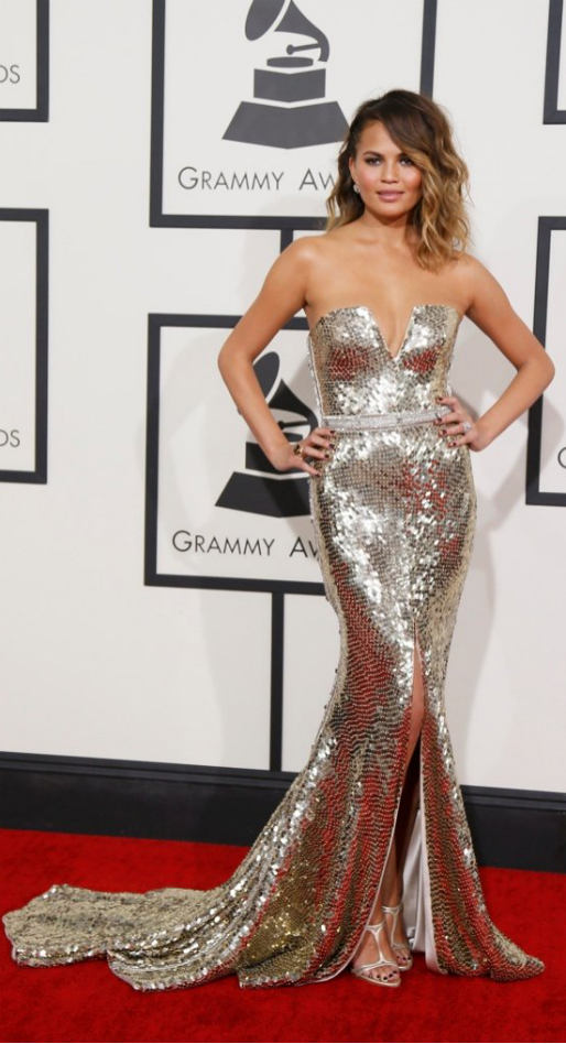 Chrissy Teigen in Johanna Johnson - 2014 Grammy Awards #GRAMMYs