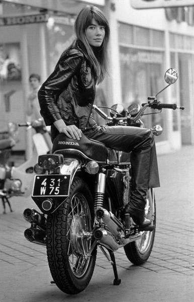 Francoise Hardy in Leather on Motorcycle