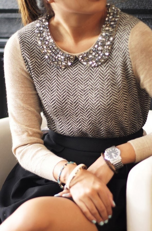 J Crew Herringbone Sweater with Jewel Collar - http://www.highrisefashion.com/