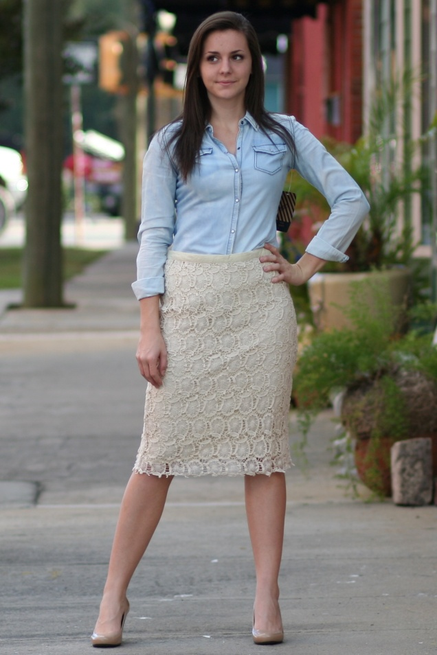 Wild Souls - Faded Denim Shirt & Lace Pencil Skirt
