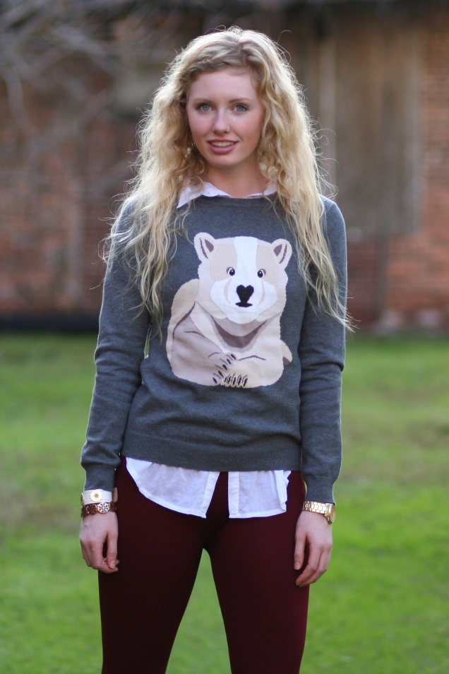Animal Critter Sweater Polar Bear on Grey