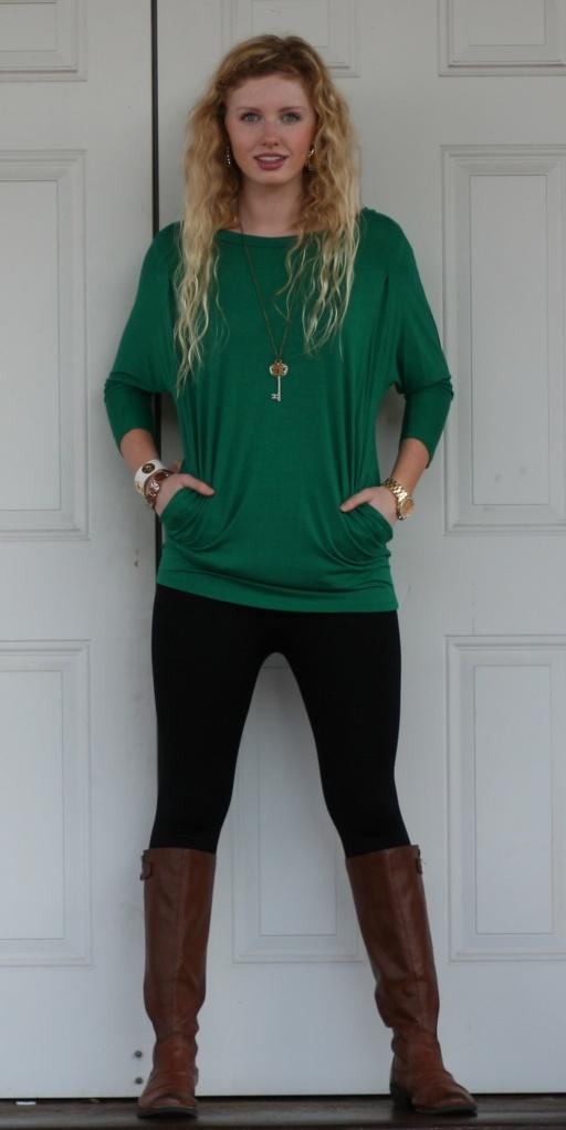 Emerald Green Dolman Sleeve Tunic - Wild Souls - shopwildsouls.com