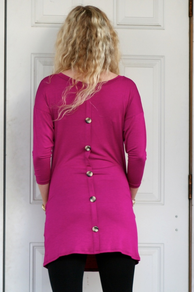 Wild Souls - Plum Button Back Tunic with Pockets - www.shopwildsouls.com
