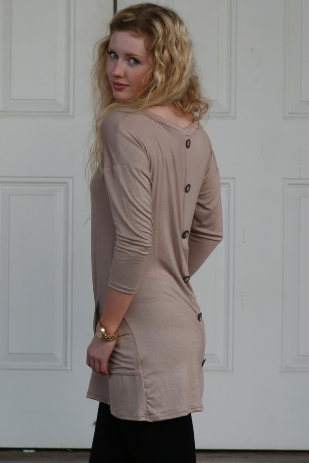 Taupe Button Back Tunic with Pockets - Wild Souls - shopwildsouls.com