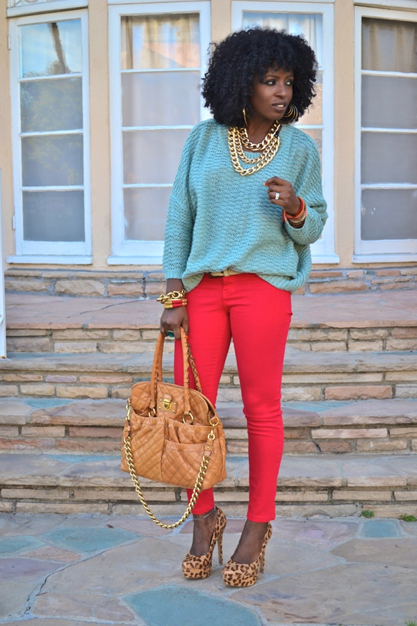 stylepantry - turquoise oversized sweater, red skinnies, leopard heels