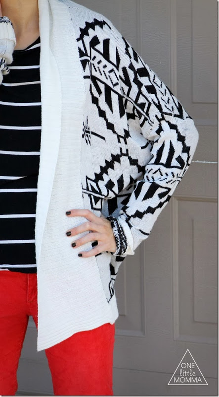 Mixed Prints - Stripes Aztec Red Pants - www.onelittlemomma.com