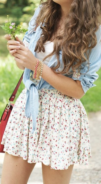 Floral Dress and Denim Shirt