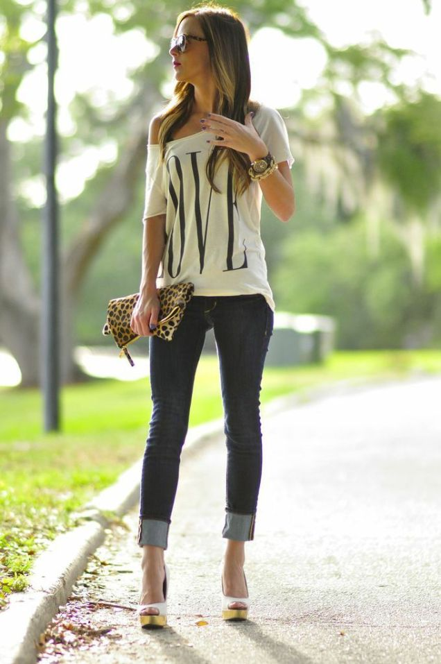 Graphic Love Tee, Jeans, Heels