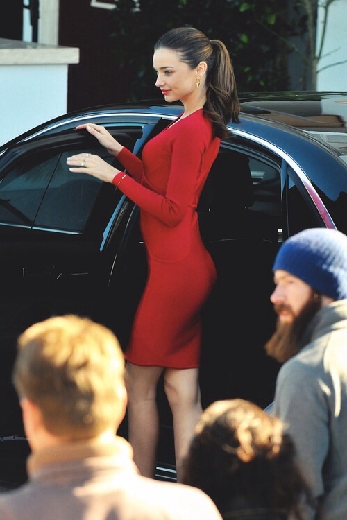 Miranda Kerr - Long Sleeve Little Red Dress