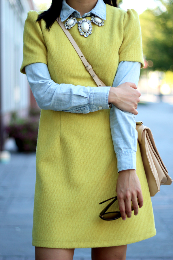 Chambray Shirt Chartreuse Dress Jewel Necklace