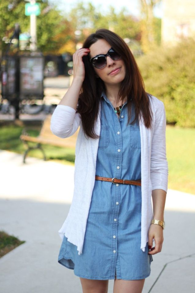 Chambray Dress Cardigan Belt