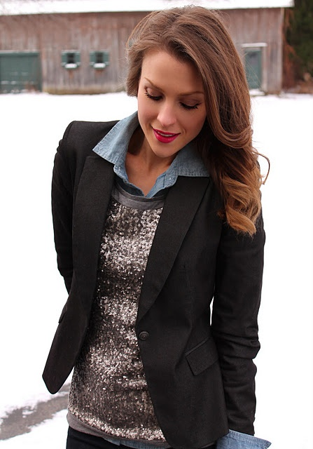 Chambray Sequins Blazer
