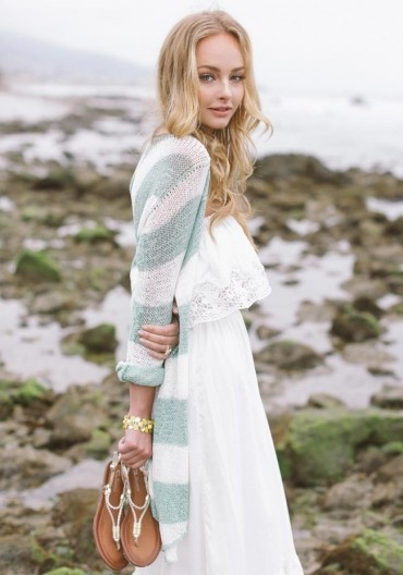 Sage Striped Cardigan & White Dress @ Ruche