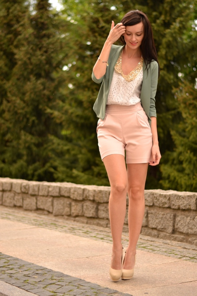 Sage Cardigan, Polka Dot Blouse, & Khaki Shorts -  Styled by Daisyline