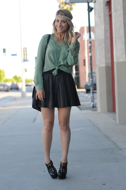 Sage Blouse, Skater Skirt, & Headwrap - Styled @ Cupcakes & Cashmere