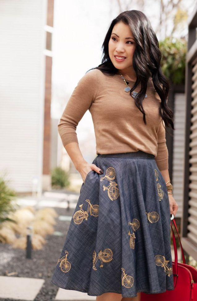Chambray Bicycle Skirt w/ Pockets styled by cute & little