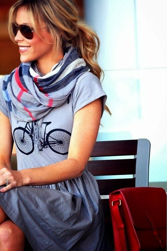 Bicycle T-shirt Dress, Plaid Scarf, & Ray-bans styled by Happily Grey