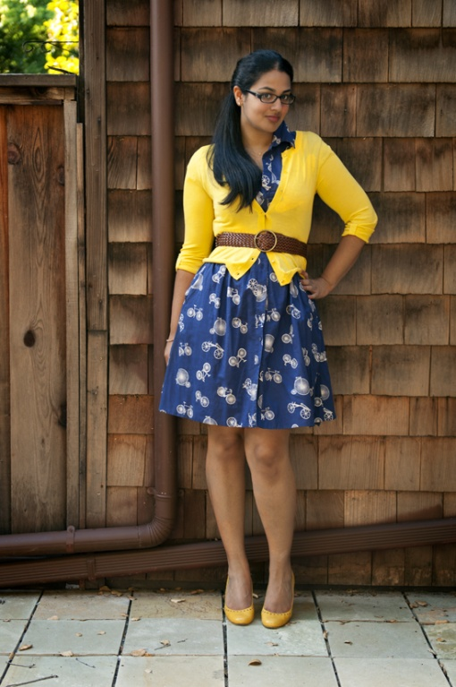 Bicycle Print Dress & Belted Yellow Cardigan Styled by Goldenmeans