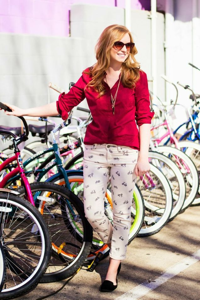 Bicycle Pants & Red Blouse styled by Prints {Pockets} & Pumps