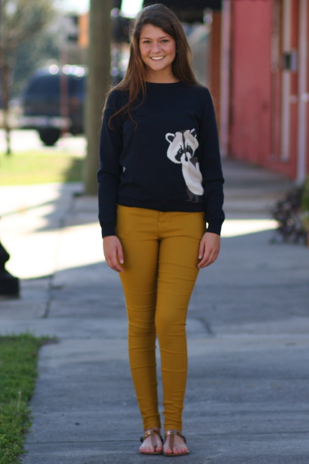 Rocky Raccoon Critter Sweater and Mustard Jeggings - shopwildsouls.com