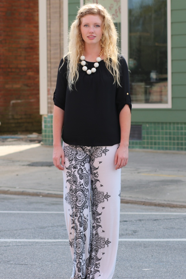 Wild Souls - Woven Top, Black White Palazzo Pants, Statement Necklace - shopwildsouls.com