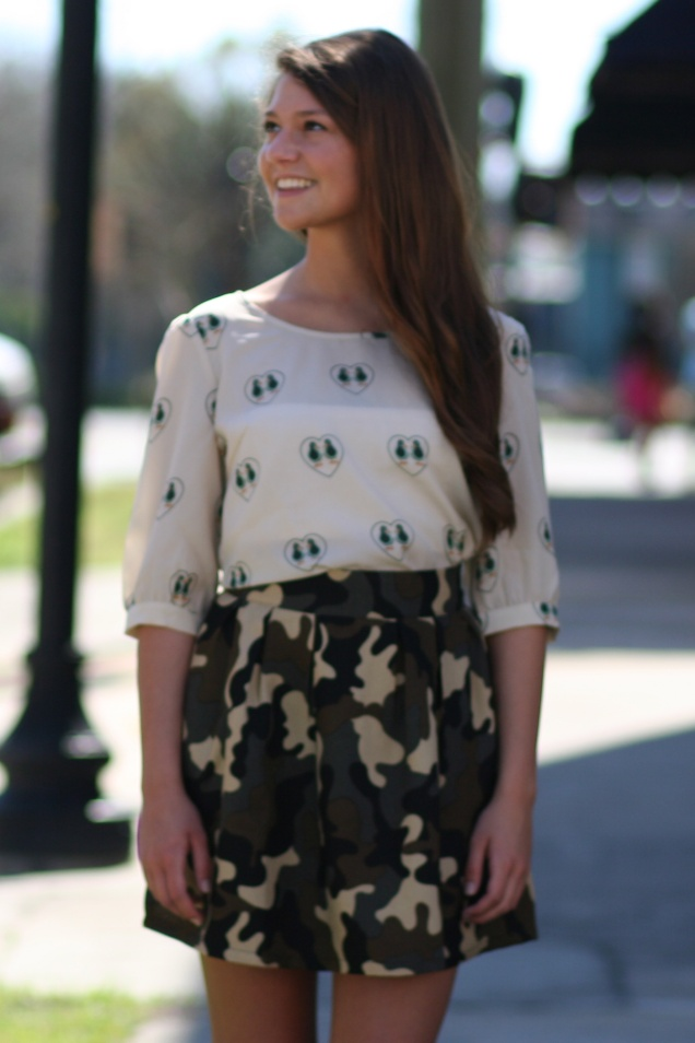 Wild Souls - Mixing Prints: Ducky Love Blouse and Camo Skater Skirt - shopwildsouls.com