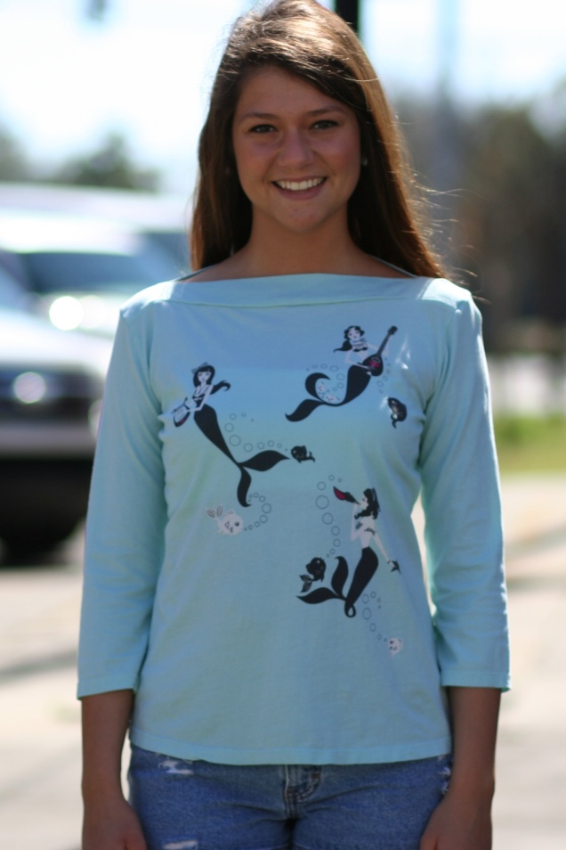 Wild Souls - Mermaid Girl Band Boatneck Tee in Mint - shopwildsouls.com