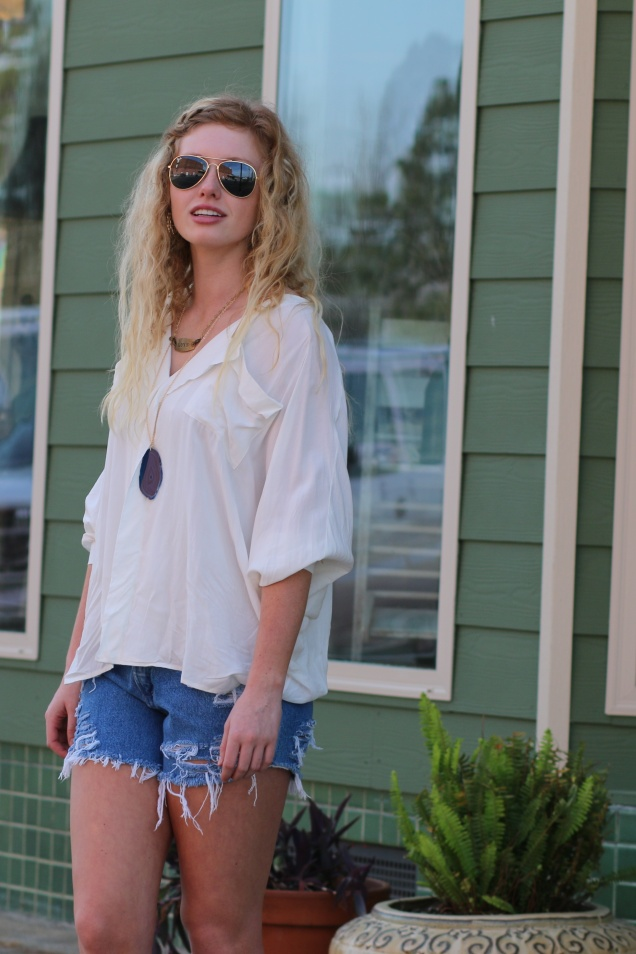 Wild Souls - Coachella Bella: Flowy Top, Denim Cutoffs, Layered Necklaces - shopwildsouls.com