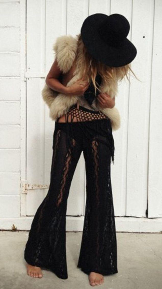 Lace Pants, Fur Vest, Floppy Hat - Source: Charcoal Alley