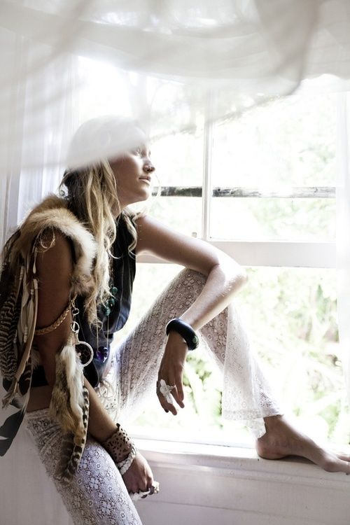 Lace Pants, Fur and Feathers, & A Rocker Tee - Source
