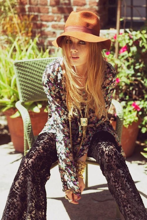 Lace Pants, Floral Top, Floppy Hat - 1-derful Bohemain
