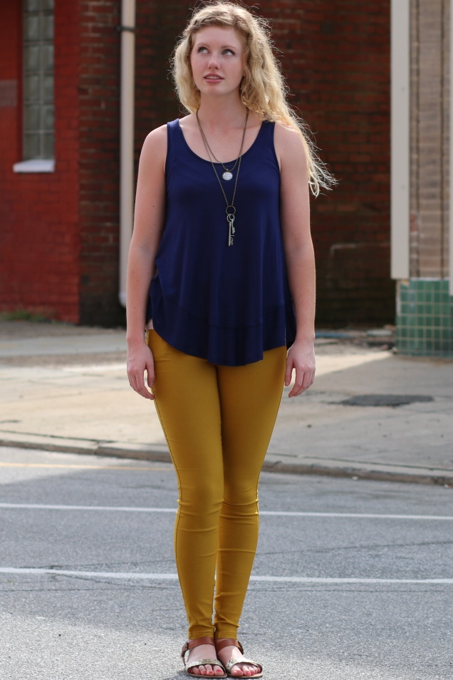 Wild Souls - Mustard Jeggings and Navy Swing Tank Top - shopwildsouls.com