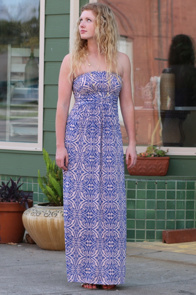 Wild Souls - Royal Blue & Peach Strapless Maxi Dress with Pockets - shopwildsouls.com