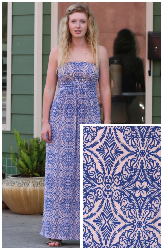 Wild Souls - Royal Blue Peach Strapless Maxi Dress with Pockets - shopwildsouls.com