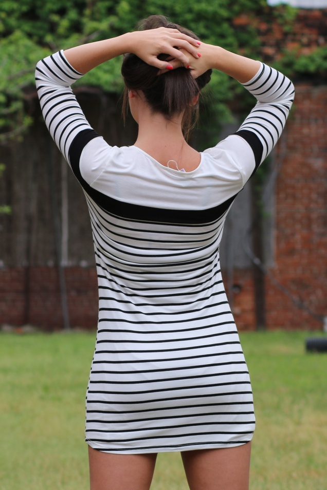 Black / White Striped Fitted Bodycon Cafe & Croissant Dress - shopwildsouls.com