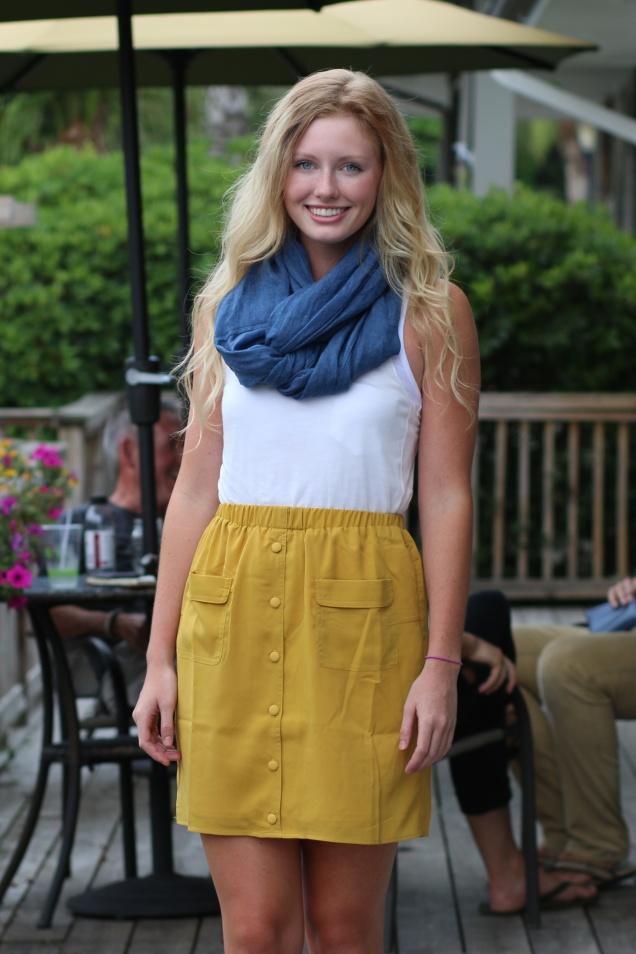 Wild Souls - Chambray Scarf, Mustard Button-down Skirt, Ivory Tissue Tank - shopwildsouls.com