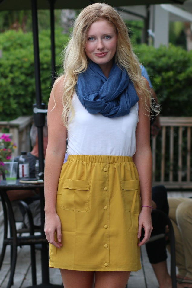 Wild Souls - Chambray Scarf, Mustard Button-down Skirt, Ivory Tissue Tank - shopwildsouls.com