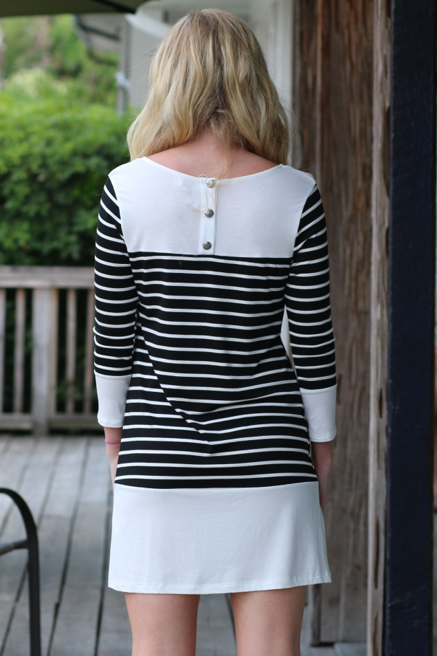Wild Souls - Wine & Tapas Dress - shopwildsouls.com #BlackWhite #Striped #Parisian #ColorBlocked