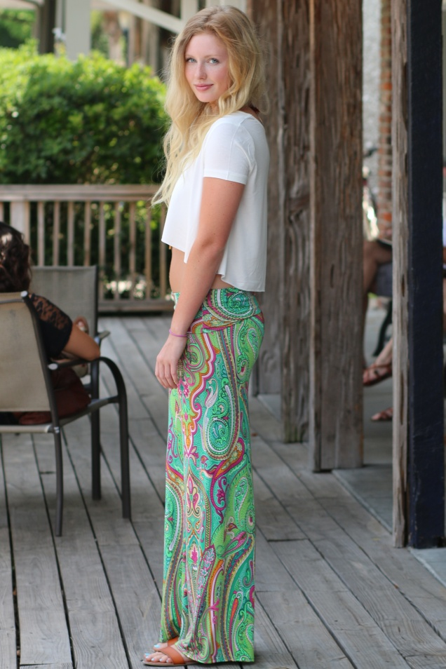 Palazzo Pants, Ivory Crop Top, & Agate Necklace