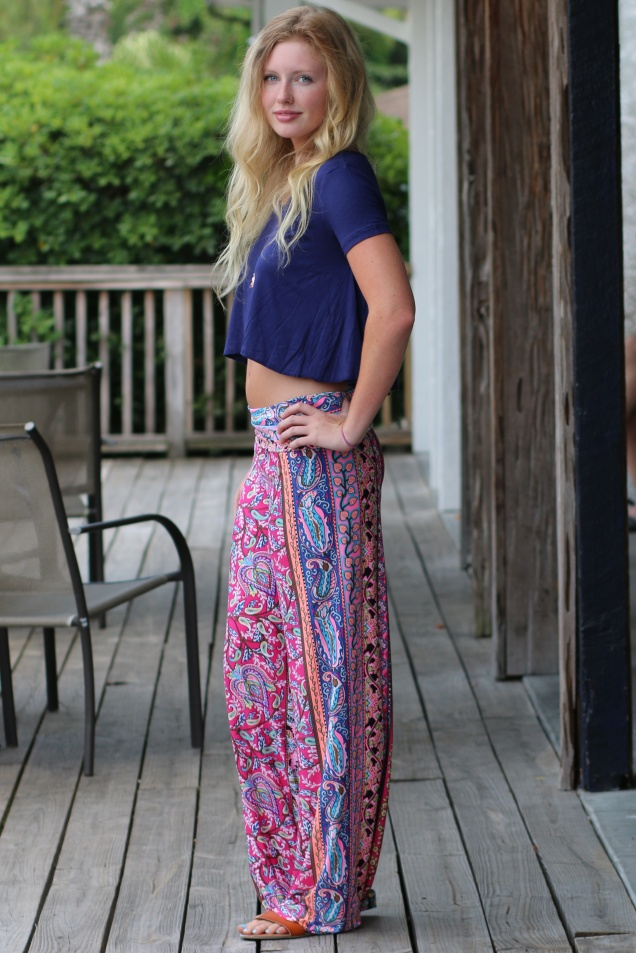 Wild Souls: Longwood Palazzo Pants, Crop Top, & Copper-plate Crystal Necklace
