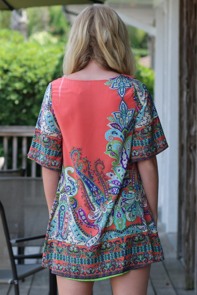 Wild Souls: Paisley Tunic Dress (Coral)