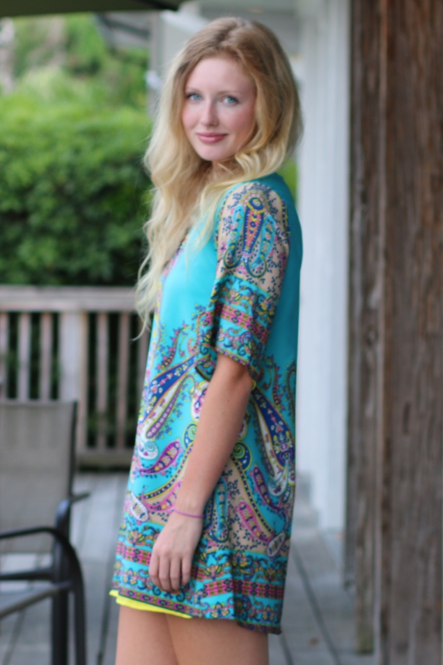 Wild Souls: Paisley Tunic Dress (Turquoise)
