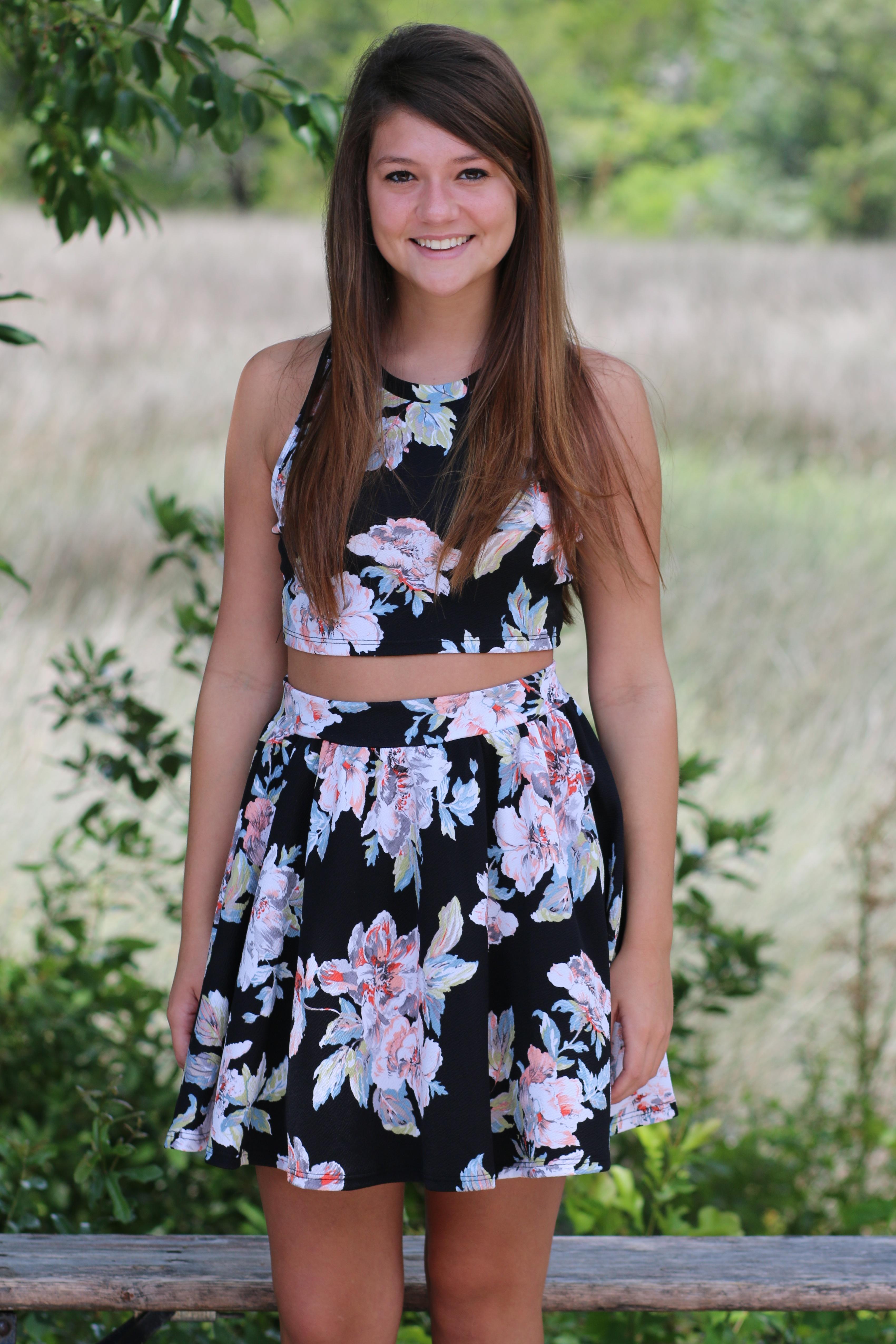 ootd watercolor floral crop  skirt set – wild souls blog