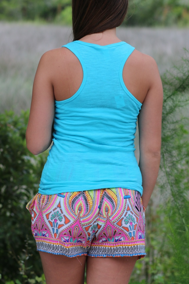 Wild Souls: Aint My First Rodeo Racerback Tank & Deco Print Shorts in Orange