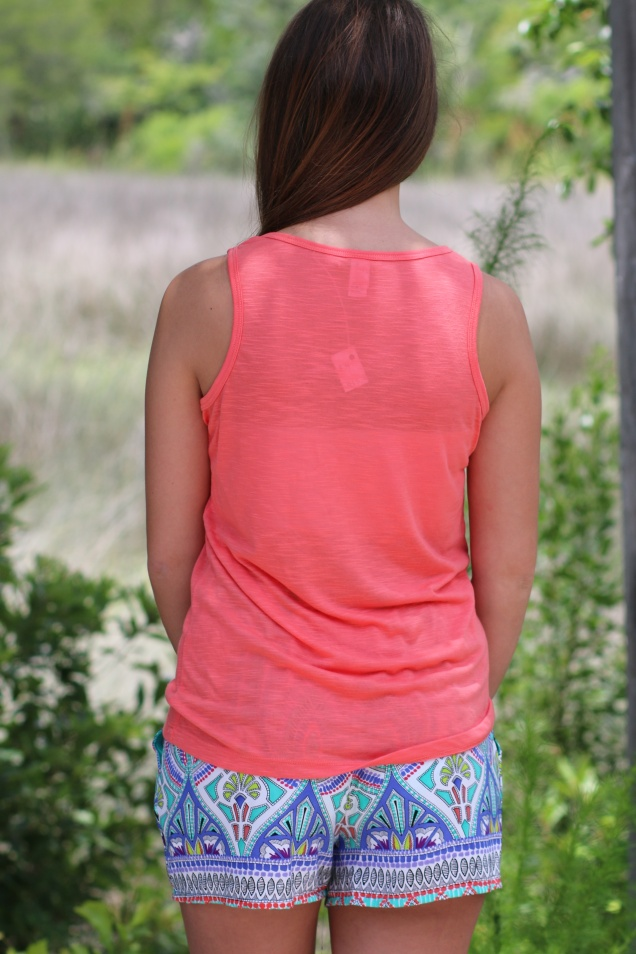 Wild Souls: Sweet as a Peach Tank & Deco Print Shorts in Aqua