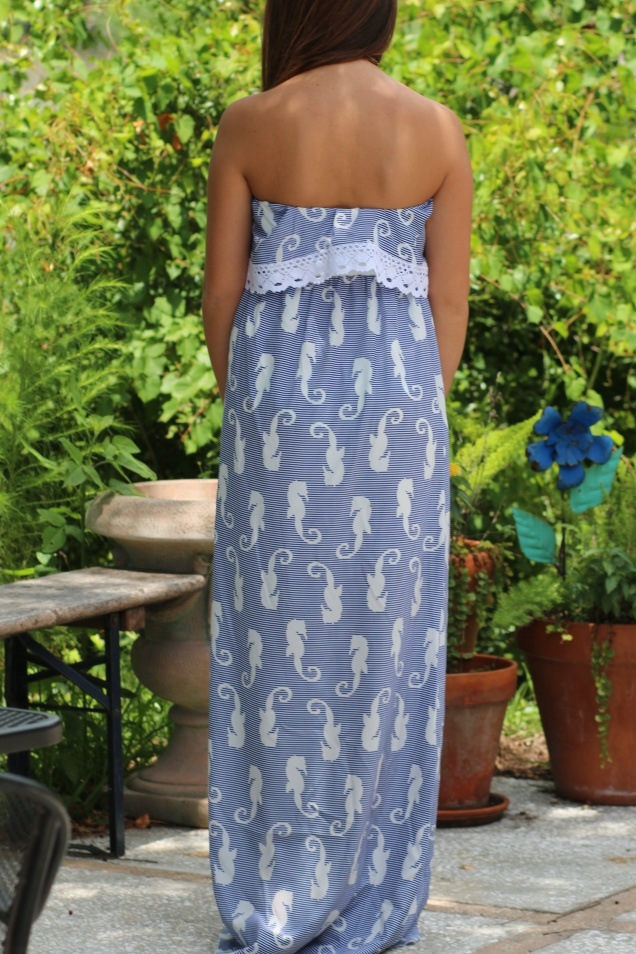Wild Souls Seahorse Maxi Dress in Royal Blue